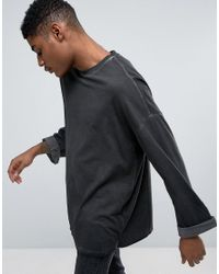 ASOS - Gray Oversized Long Sleeve T-shirt With Wide Roll Sleeve With Pigment Wash for Men - Lyst