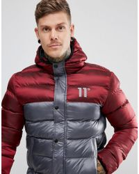 11 Degrees | Gray Puffer Jacket In Grey With Burgundy Panel for Men | Lyst