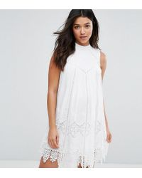 1405c23c01e7 Lyst - ASOS Premium Ladder And Lace Swing Dress in White