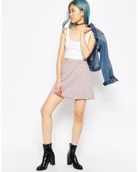 ASOS - Denim Wrap Mini Skirt In Washed Pink - Lyst