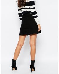 Pieces - Black Varinka Raw Edge Denim Skirt - Lyst