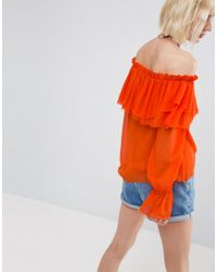 ASOS - Orange One Shoulder Blouse With Ruffle - Lyst