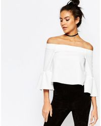 ASOS | White Off The Shoulder Top With Ruffle Sleeve | Lyst