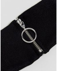 ASOS - Black Rib Neck Band With Ring Pull - Lyst