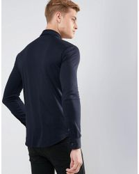 Armani Jeans - Blue Slim Fit Mercerised Jersey Shirt Navy for Men - Lyst