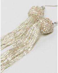 ASOS - Metallic Silver Bead Tassel Earrings - Lyst