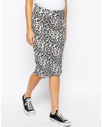 ASOS - Black Maternity Midi Skirt In Leopard Print - Lyst