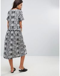 YMC - Gray Patchwork Ruffle Midi Dress - Lyst