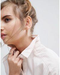 ASOS - Metallic Gold Plated Sterling Silver Bow 24mm Hoop Earrings - Lyst
