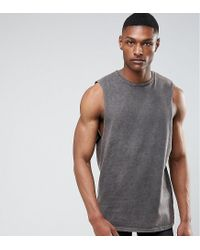 e09cf5b8b6658 Men s Gray Tall Longline Sleeveless T-shirt With Extreme Dropped Armhole ...