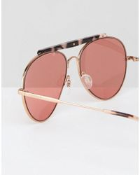 Tommy Hilfiger - Metallic Tinted Lens Sunglasses With Brow Bar Detail - Lyst