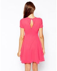 Elise Ryan - Pink Skater Tea Dress With Mesh Inserts - Lyst
