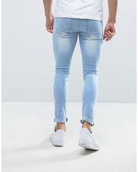 Liquor N Poker - Blue Skinny Jeans Heavily Distressed And Bleached Biker for Men - Lyst