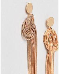 River Island | Metallic Knot Front Dangle Earrings | Lyst