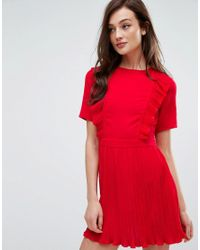 4747c6688a Lyst - Fashion Union Dress With Ruffles   Pleat Detail in Red