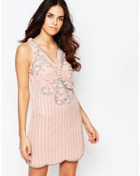A Star Is Born | Natural Pleated Skater Dress With Embellished Detail - Rose | Lyst