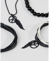 ASOS - Necklace And Bracelet Pack With Peace And Feather In Black for Men - Lyst