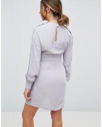 ASOS - Gray Nursing Tie Waist Dress With Popper Detail - Lyst