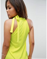 Oh My Love - Yellow Tall Scuba Shift Dress With Tie Neck - Lyst