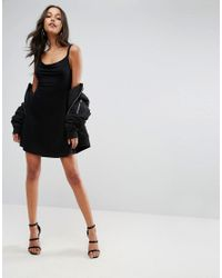 ASOS - Black Mini Cowl Front Swing Dress - Lyst