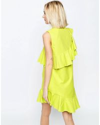 ASOS - Yellow Textured Ruffle Shift Dress With Raw Edge - Lyst