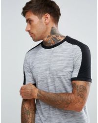 ASOS - Gray T-shirt With Shoulder Colour Block In Interest Fabric In Grey for Men - Lyst