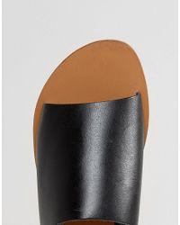 Warehouse | Black Leather Slider Sandal | Lyst