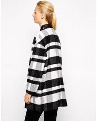 Mango - Black Checked Coat - Lyst