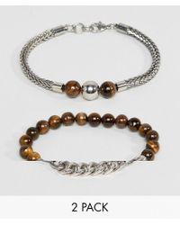 ALDO - Brown Beaded & Chain Bracelets In 2 Pack - Lyst