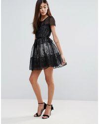 Zibi London - Black Organza Tiered Short Sleeve Dress - Lyst