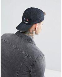 ASOS - Gray Baseball Cap In Grey Denim With Badge Detail for Men - Lyst