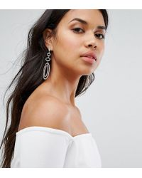 LoveRocks London - Metallic Rhinestone Oval Statement Earrings - Lyst