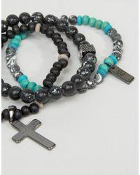 Icon Brand - Black Cross Beaded Bracelet Pack for Men - Lyst