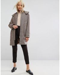 ASOS - Multicolor Asos Hooded Check Coat With Rib Funnel Neck - Lyst