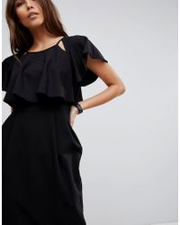 ASOS - Black Asos Double Layer Midi Wiggle Dress With Angel Sleeve - Lyst