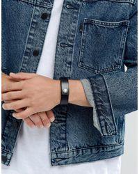 DIESEL - A-great Leather Cuff Bracelet In Black for Men - Lyst