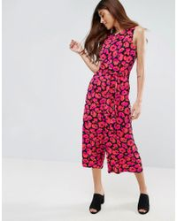 Warehouse - Red Leopard Print Jumpsuit - Lyst