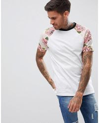 ASOS - White Design T-shirt With Floral Printed Raglan Sleeves for Men - Lyst