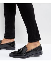 ASOS - Wide Fit Brogue Loafers In Black Leather With Tassel - Lyst