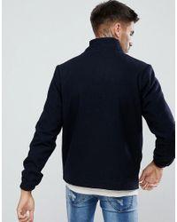 Bellfield - Blue Wool Blend Harrington Jacket for Men - Lyst