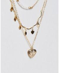 ASOS - Metallic Hearts Multirow Necklace - Lyst