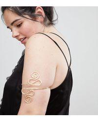 ASOS - Metallic Asos Design Curve Exclusive Arm Cuff With Swirl Design In Gold - Lyst
