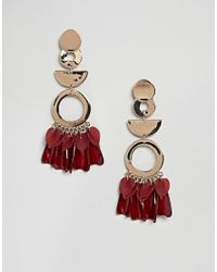 ASOS DESIGN - Metallic Statement Petal And Shape Drop Earrings - Lyst