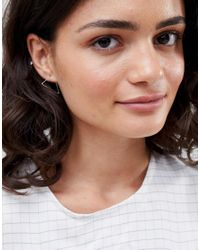 ASOS - Metallic Sterling Silver Hoop Earrings In Triangle - Lyst