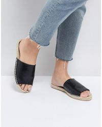 Truffle Collection - Black Espadrille Mule Sandal - Lyst