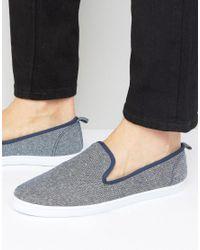 New Look | Slip On Plimsolls In Blue for Men | Lyst