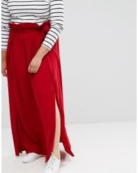 ASOS | Red Maxi Skirt With Belt And Thigh Split | Lyst