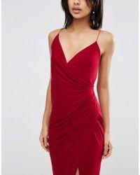 ASOS - Red Drape Cami Maxi Dress - Lyst