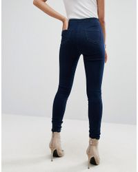 Missguided - Blue Vice High Waisted Super Stretch Skinny Jean - Lyst