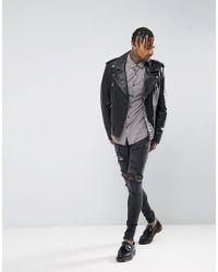 ASOS - Skinny Viscose Shirt In Gray for Men - Lyst